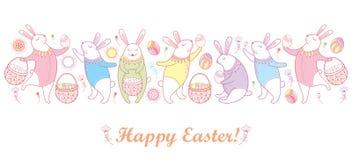 Vector счастливая граница пасхи при кролик, яичко и корзина пасхи плана в пастельных цветах изолированные на белой предпосылке иллюстрация вектора