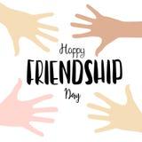Vector счастливая литерность дня приятельства с предпосылкой рук детей Стоковое Изображение RF
