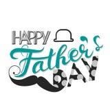 Vector счастливая концепция поздравительной открытки дня ` s отца, ребяческий стиль Стоковые Изображения RF