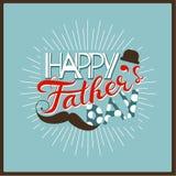 Vector счастливая концепция поздравительной открытки дня ` s отца, ребяческий стиль Стоковые Фото