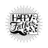 Vector счастливая концепция поздравительной открытки дня ` s отца, ребяческий стиль Стоковое Изображение