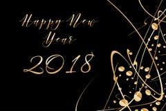 Vector счастливая предпосылка 2018 Нового Года с сияющими падениями и яркий блеск на черноте Стоковая Фотография