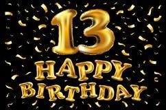 Vector с днем рождения 13 лет золотого цвета, воздушного шара и confetti изолированных на элегантной черной предпосылке, дизайне  Стоковое Фото