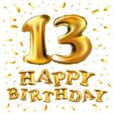 Vector с днем рождения 13 лет золотого цвета, воздушного шара и confetti изолированных на элегантной белой предпосылке, дизайне д Стоковые Изображения RF