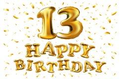 Vector с днем рождения 13 лет золотого цвета, воздушного шара и confetti изолированных на элегантной белой предпосылке, дизайне д Стоковая Фотография RF