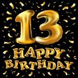 Vector с днем рождения 13 лет золотого цвета, воздушного шара и confetti изолированных на элегантной черной предпосылке, дизайне  Стоковая Фотография RF