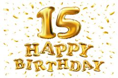 Vector с днем рождения 15 лет золотого цвета, 15 раздуйте и confetti изолированный на элегантной черной предпосылке, дизайне для  Стоковые Фотографии RF