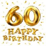 Vector с днем рождения шестидесятые воздушные шары золота торжества и золотые яркие блески confetti дизайн иллюстрации 3d для ваш Стоковое Изображение RF
