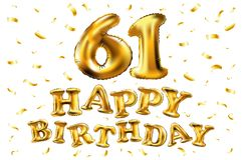 Vector с днем рождения 61th воздушные шары золота торжества и золотые яркие блески confetti дизайн иллюстрации 3d для вашей поздр Стоковые Изображения