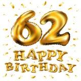 Vector с днем рождения 62th воздушные шары золота торжества и золотые яркие блески confetti дизайн иллюстрации 3d для вашей поздр Стоковое Фото