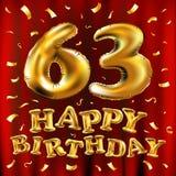 Vector с днем рождения 63th воздушные шары золота торжества и золотые яркие блески confetti дизайн иллюстрации 3d для вашей поздр Стоковые Изображения RF