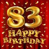 Vector с днем рождения 83th воздушные шары золота торжества и золотые яркие блески confetti дизайн иллюстрации 3d для вашей поздр Стоковое Фото