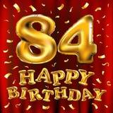 Vector с днем рождения 84th воздушные шары золота торжества и золотые яркие блески confetti дизайн иллюстрации 3d для вашей поздр Стоковые Фотографии RF