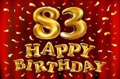 Vector с днем рождения 83th воздушные шары золота торжества и золотые яркие блески confetti дизайн иллюстрации 3d для вашей поздр Стоковое Изображение