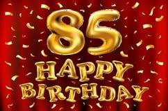 Vector с днем рождения 85th воздушные шары золота торжества и золотые яркие блески confetti дизайн иллюстрации 3d для вашей поздр Стоковые Изображения