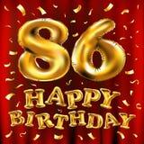Vector с днем рождения 86th воздушные шары золота торжества и золотые яркие блески confetti дизайн иллюстрации 3d для вашей поздр Стоковое фото RF