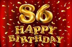 Vector с днем рождения 86th воздушные шары золота торжества и золотые яркие блески confetti дизайн иллюстрации 3d для вашей поздр Стоковое Изображение