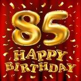 Vector с днем рождения 85th воздушные шары золота торжества и золотые яркие блески confetti дизайн иллюстрации 3d для вашей поздр Стоковая Фотография RF