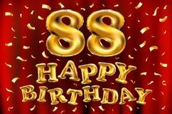Vector с днем рождения 88th воздушные шары золота торжества и золотые яркие блески confetti дизайн иллюстрации 3d для вашей поздр Стоковое Изображение RF