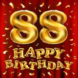Vector с днем рождения 88th воздушные шары золота торжества и золотые яркие блески confetti дизайн иллюстрации 3d для вашей поздр Стоковая Фотография RF