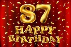 Vector с днем рождения 87th воздушные шары золота торжества и золотые яркие блески confetti дизайн иллюстрации 3d для вашей поздр Стоковое Изображение
