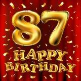 Vector с днем рождения 87th воздушные шары золота торжества и золотые яркие блески confetti дизайн иллюстрации 3d для вашей поздр Стоковые Фото