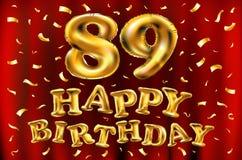 Vector с днем рождения 89th воздушные шары золота торжества и золотые яркие блески confetti дизайн иллюстрации 3d для вашей поздр Стоковые Фотографии RF