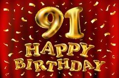 Vector с днем рождения 91th воздушные шары золота торжества и золотые яркие блески confetti дизайн иллюстрации 3d для вашей поздр Стоковые Изображения