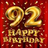 Vector с днем рождения 92th воздушные шары золота торжества и золотые яркие блески confetti дизайн иллюстрации 3d для вашей поздр Стоковая Фотография