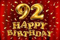 Vector с днем рождения 92th воздушные шары золота торжества и золотые яркие блески confetti дизайн иллюстрации 3d для вашей поздр Стоковое Изображение RF