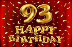 Vector с днем рождения 93th воздушные шары золота торжества и золотые яркие блески confetti дизайн иллюстрации 3d для вашей поздр Стоковая Фотография