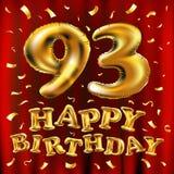 Vector с днем рождения 93th воздушные шары золота торжества и золотые яркие блески confetti дизайн иллюстрации 3d для вашей поздр Стоковые Фото