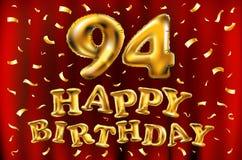 Vector с днем рождения 94th воздушные шары золота торжества и золотые яркие блески confetti дизайн иллюстрации 3d для вашей поздр Стоковые Изображения