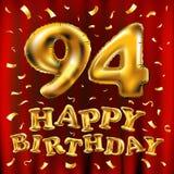 Vector с днем рождения 94th воздушные шары золота торжества и золотые яркие блески confetti дизайн иллюстрации 3d для вашей поздр Стоковое Фото