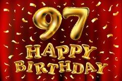 Vector с днем рождения 97th воздушные шары золота торжества и золотые яркие блески confetti дизайн иллюстрации 3d для вашей поздр Стоковое фото RF