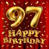 Vector с днем рождения 97th воздушные шары золота торжества и золотые яркие блески confetti дизайн иллюстрации 3d для вашей поздр Стоковые Изображения