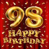 Vector с днем рождения 98th воздушные шары золота торжества и золотые яркие блески confetti дизайн иллюстрации 3d для вашей поздр Стоковые Изображения RF