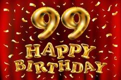 Vector с днем рождения 99th воздушные шары золота торжества и золотые яркие блески confetti дизайн иллюстрации 3d для вашей поздр Стоковое Изображение RF