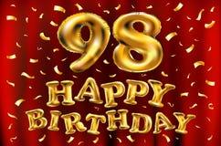 Vector с днем рождения 98th воздушные шары золота торжества и золотые яркие блески confetti дизайн иллюстрации 3d для вашей поздр Стоковые Фото