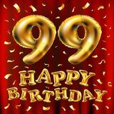 Vector с днем рождения 99th воздушные шары золота торжества и золотые яркие блески confetti дизайн иллюстрации 3d для вашей поздр Стоковая Фотография RF