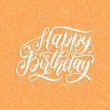 Vector с днем рождения литерность руки для карточки приветствовать или приглашения Каллиграфия на милой предпосылке Плакат праздн Стоковые Изображения RF