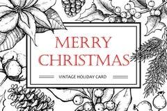 Vector с Рождеством Христовым иллюстрация нарисованная рукой винтажная для xmas Стоковые Фото