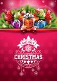 Vector с Рождеством Христовым счастливая иллюстрация праздников с типографским дизайном и подарочная коробка на красной предпосыл Стоковое фото RF