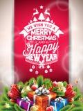 Vector с Рождеством Христовым счастливая иллюстрация праздников с типографским дизайном и подарочная коробка на красной предпосыл Стоковое Изображение