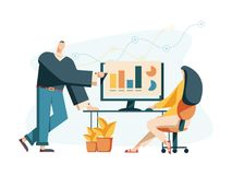 Vector творческая иллюстрация графиков дела, компания i иллюстрация штока