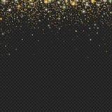 Vector текстура частиц яркого блеска снега золота на черной предпосылке Снежности с confetti, Стоковые Фото