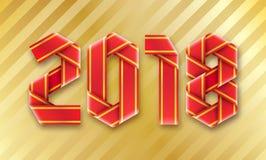 Vector текст 2018 сделал переплетенного красного цвета оборачивая ленты на золотой предпосылке Стоковая Фотография RF