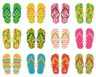 Vector темповые сальто сальто, сандалии пляжа на лето Иллюстрация вектора