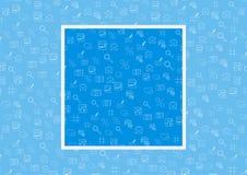 Vector технология интернета и программируя безшовная картина при простые линейные значки установленные на голубую предпосылку с п Стоковое Изображение RF