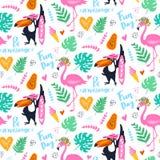Vector тропическая безшовная картина с розовым фламинго, toucan, листьями тропика предпосылка экзотическая иллюстрация вектора
